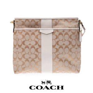 Coach Signature Stripe Khaki/White File Crossbody